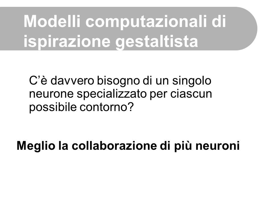 C'è davvero bisogno di un singolo neurone specializzato per ciascun possibile contorno? Modelli computazionali di ispirazione gestaltista Meglio la co
