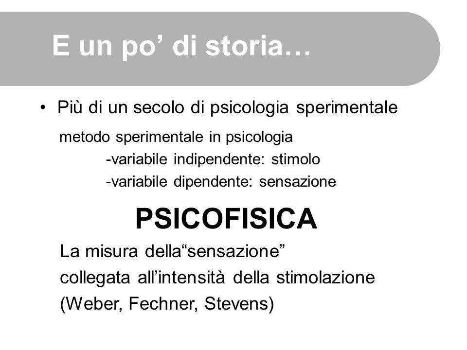 E un po' di storia… Più di un secolo di psicologia sperimentale PSICOFISICA metodo sperimentale in psicologia -variabile indipendente: stimolo -variab
