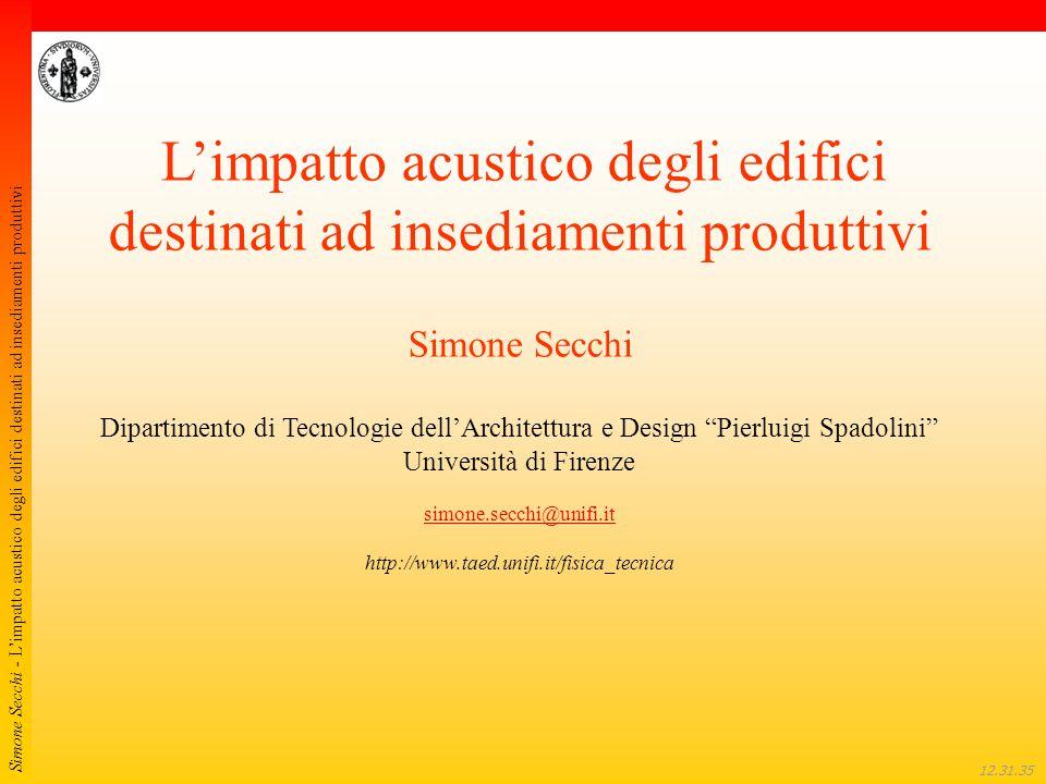 Simone Secchi - L'impatto acustico degli edifici destinati ad insediamenti produttivi 12.32.01 L'impatto acustico degli edifici destinati ad insediame