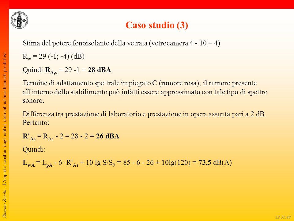 Simone Secchi - L'impatto acustico degli edifici destinati ad insediamenti produttivi 12.32.01 Caso studio (3) Stima del potere fonoisolante della vet