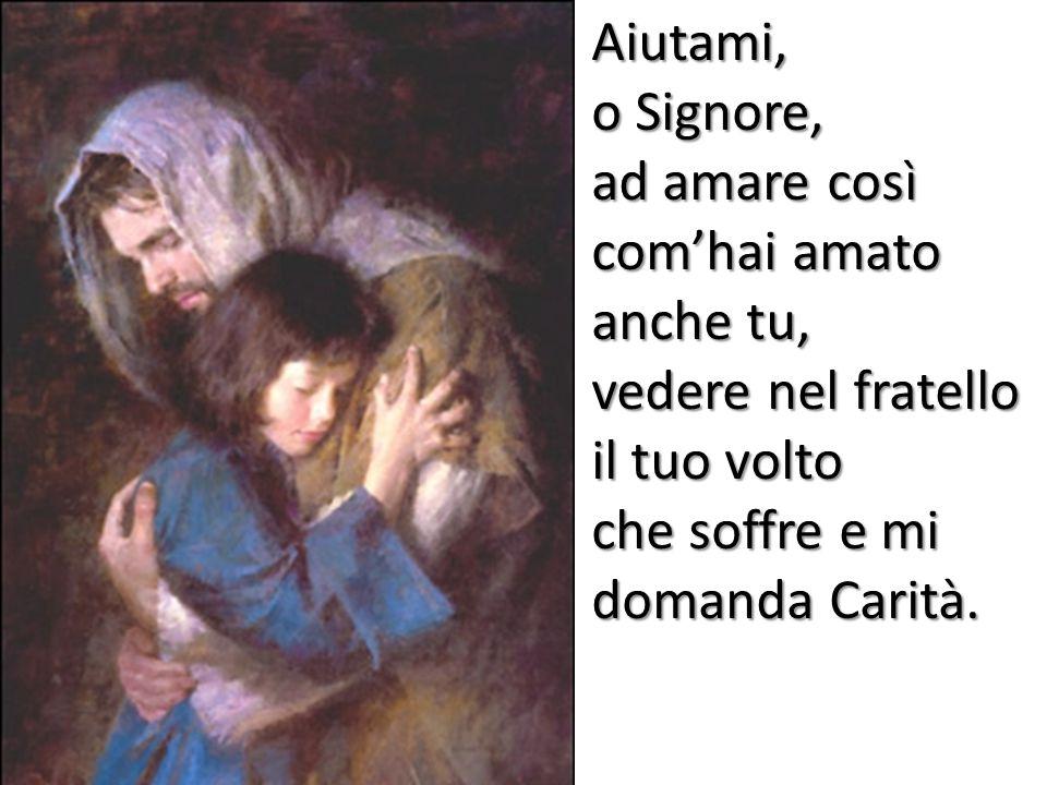 Aiutami, o Signore, ad amare così com'hai amato anche tu, vedere nel fratello il tuo volto che soffre e mi domanda Carità.