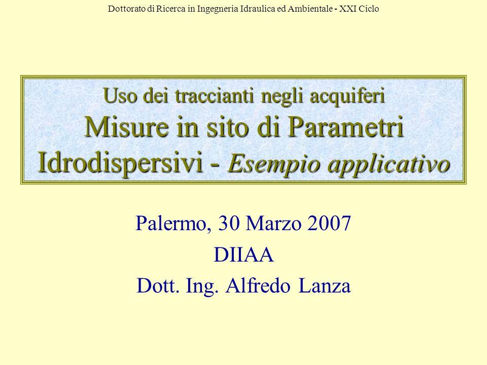 Dottorato di Ricerca in Ingegneria Idraulica ed Ambientale - XXI Ciclo Uso dei traccianti negli acquiferi Misure in sito di Parametri Idrodispersivi - Esempio applicativo Palermo, 30 Marzo 2007 DIIAA Dott.