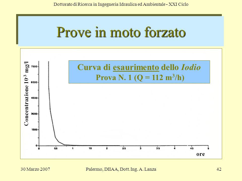 Dottorato di Ricerca in Ingegneria Idraulica ed Ambientale - XXI Ciclo 30 Marzo 2007Palermo, DIIAA, Dott.