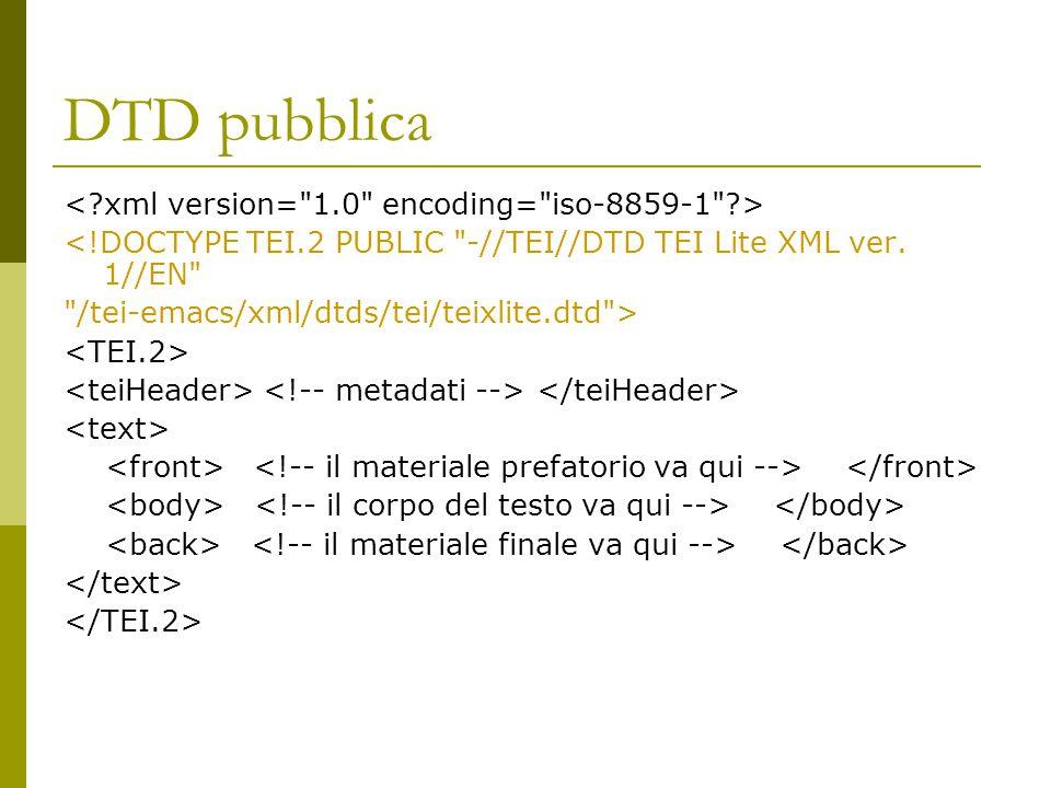 DTD pubblica <!DOCTYPE TEI.2 PUBLIC