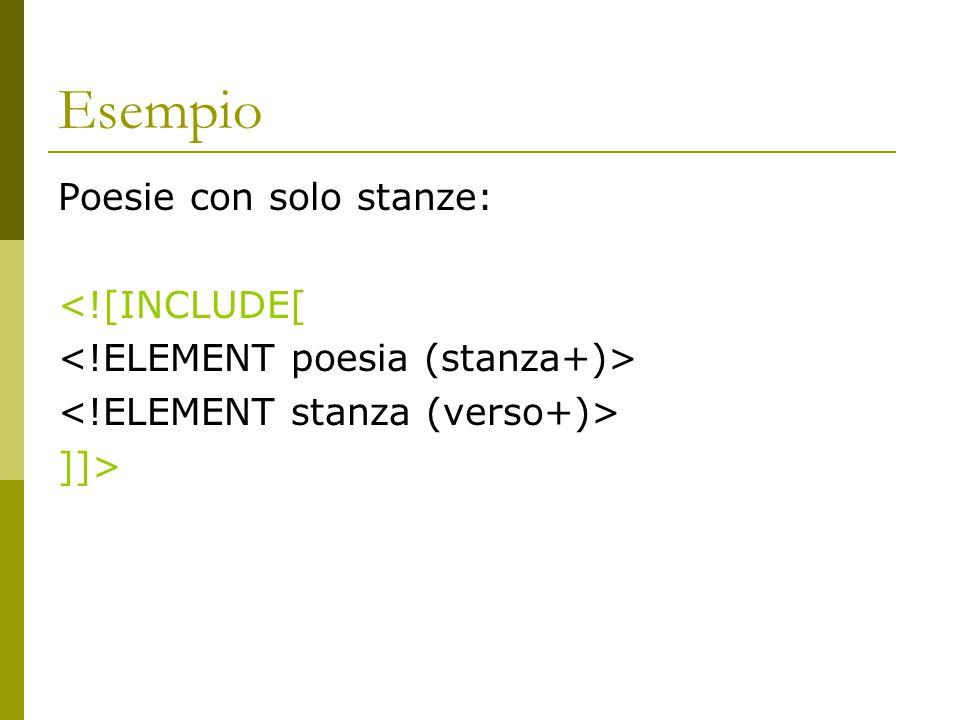 Esempio Poesie con solo stanze: <![INCLUDE[ ]]>
