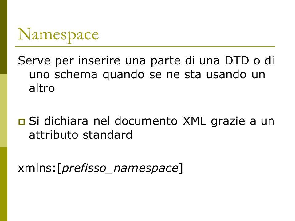 Namespace Serve per inserire una parte di una DTD o di uno schema quando se ne sta usando un altro  Si dichiara nel documento XML grazie a un attributo standard xmlns:[prefisso_namespace]