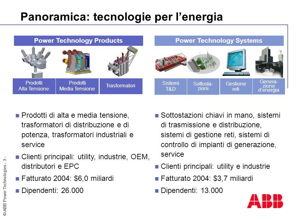 © ABB Power Technologies - 3 - Panoramica: tecnologie per l'energia Power Technology Products Prodotti di alta e media tensione, trasformatori di dist