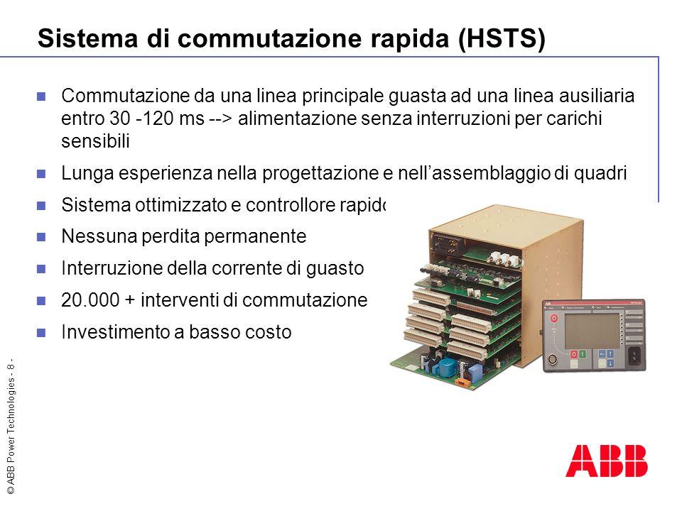 © ABB Power Technologies - 8 - Sistema di commutazione rapida (HSTS) Commutazione da una linea principale guasta ad una linea ausiliaria entro 30 -120