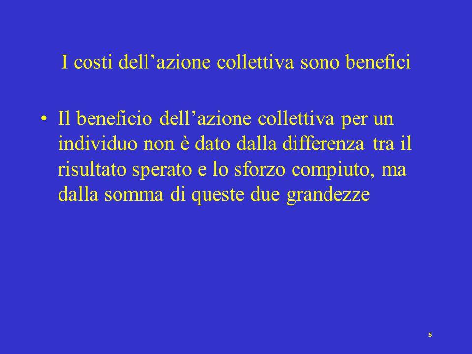 5 I costi dell'azione collettiva sono benefici Il beneficio dell'azione collettiva per un individuo non è dato dalla differenza tra il risultato sperato e lo sforzo compiuto, ma dalla somma di queste due grandezze