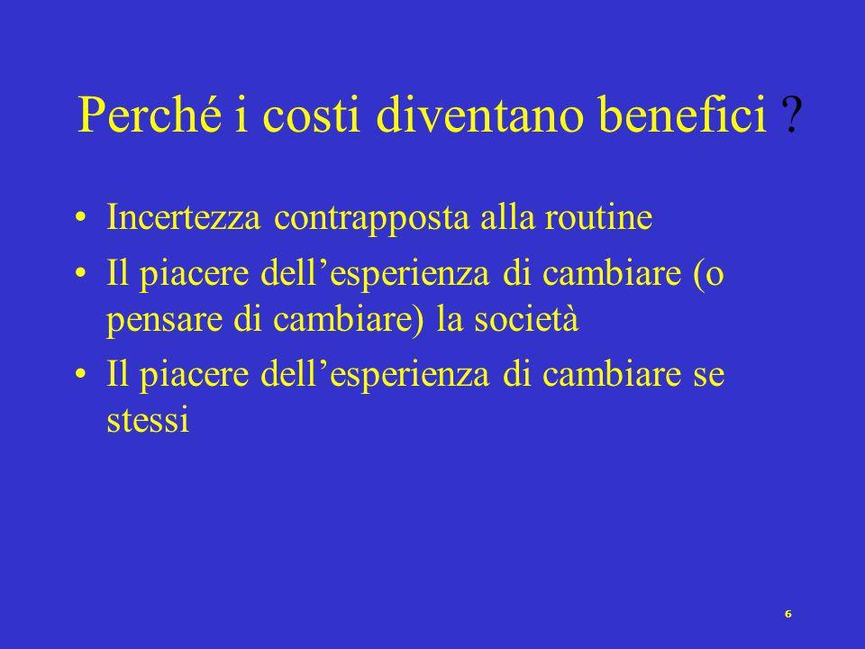 5 I costi dell'azione collettiva sono benefici Il beneficio dell'azione collettiva per un individuo non è dato dalla differenza tra il risultato spera