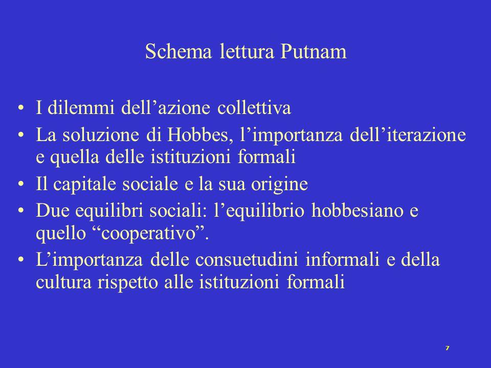 7 I dilemmi dell'azione collettiva La soluzione di Hobbes, l'importanza dell'iterazione e quella delle istituzioni formali Il capitale sociale e la sua origine Due equilibri sociali: l'equilibrio hobbesiano e quello cooperativo .