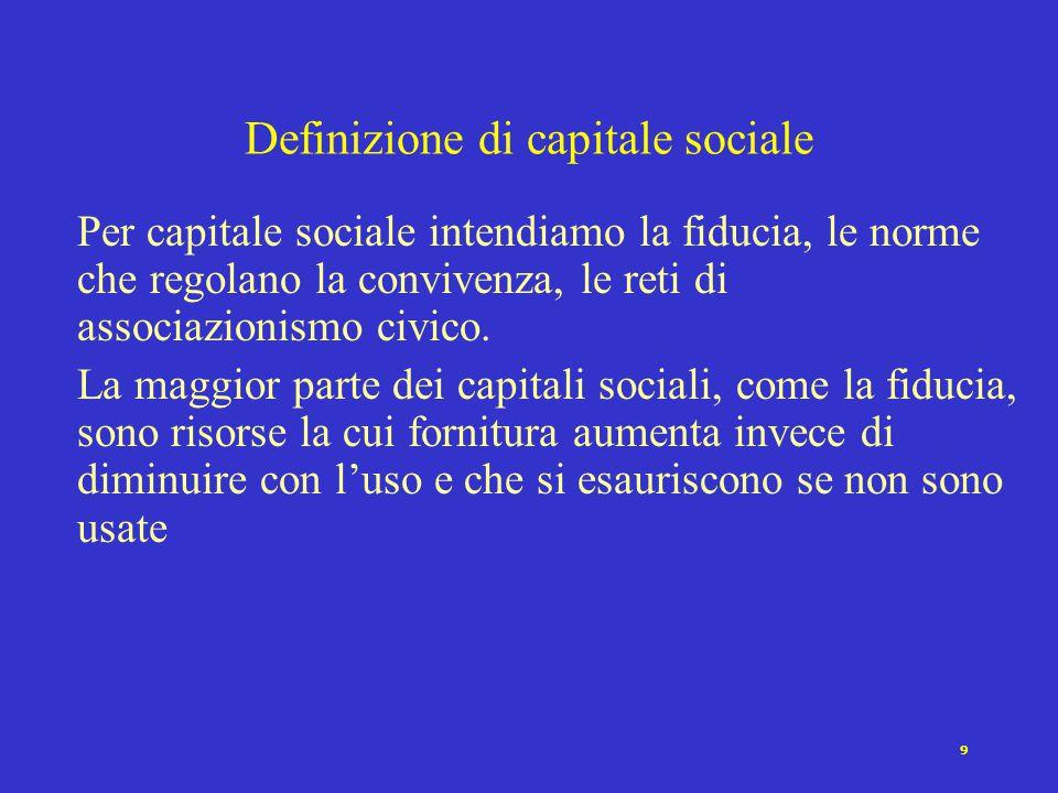 9 Per capitale sociale intendiamo la fiducia, le norme che regolano la convivenza, le reti di associazionismo civico.