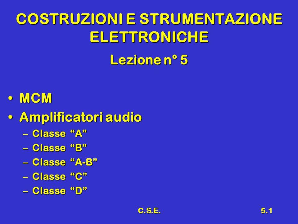 C.S.E.5.1 COSTRUZIONI E STRUMENTAZIONE ELETTRONICHE Lezione n° 5 MCMMCM Amplificatori audioAmplificatori audio –Classe A –Classe B –Classe A-B –Classe C –Classe D