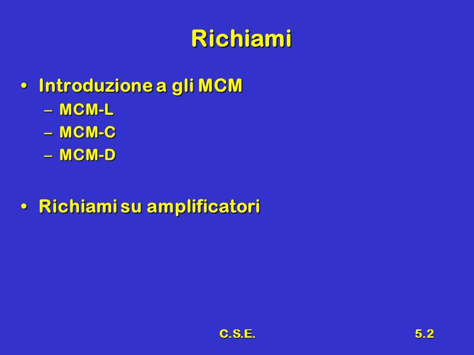 C.S.E.5.2 Richiami Introduzione a gli MCMIntroduzione a gli MCM –MCM-L –MCM-C –MCM-D Richiami su amplificatoriRichiami su amplificatori