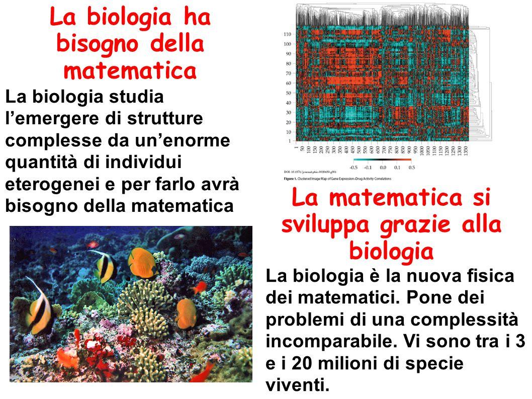 La biologia ha bisogno della matematica La matematica si sviluppa grazie alla biologia La biologia studia l'emergere di strutture complesse da un'enorme quantità di individui eterogenei e per farlo avrà bisogno della matematica La biologia è la nuova fisica dei matematici.