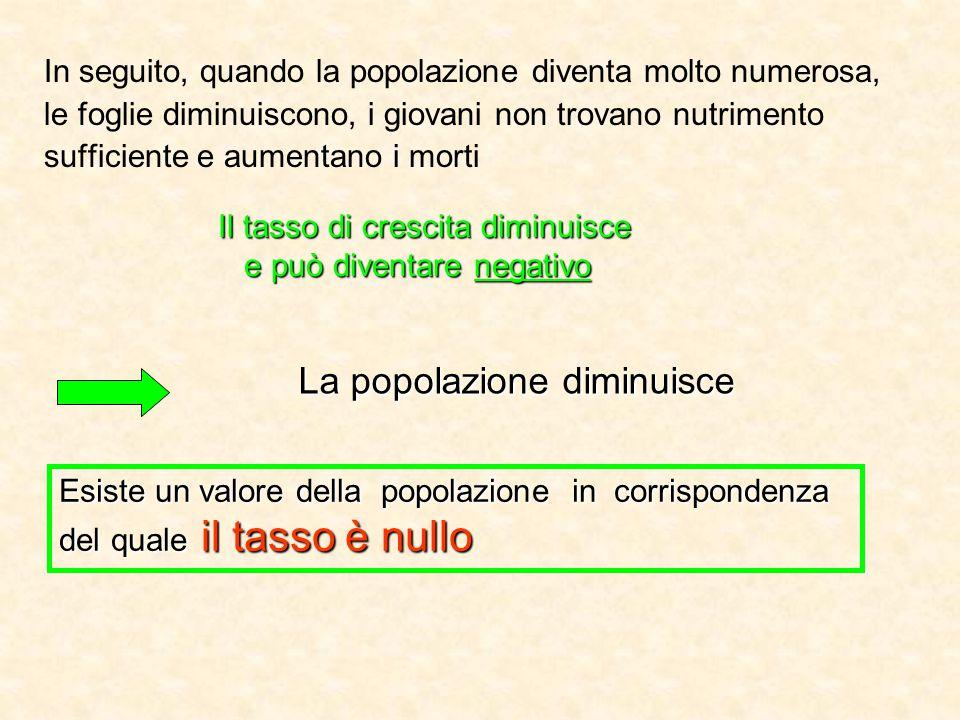 La popolazione diminuisce In seguito, quando la popolazione diventa molto numerosa, le foglie diminuiscono, i giovani non trovano nutrimento sufficien