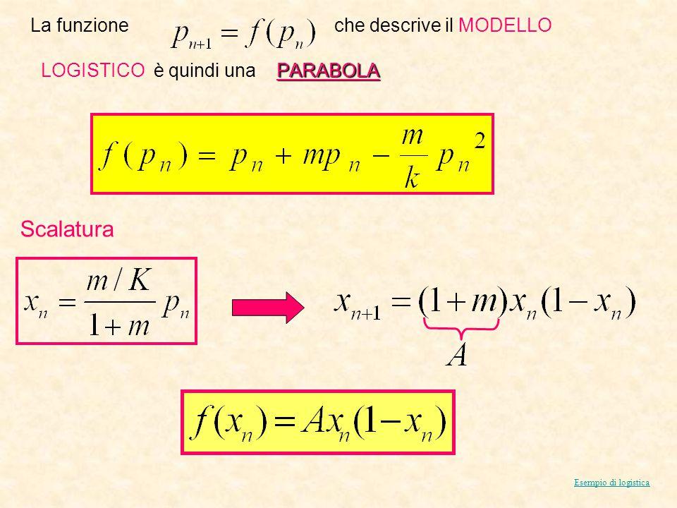 La funzione che descrive il MODELLO PARABOLA LOGISTICO è quindi una PARABOLA Esempio di logistica Scalatura
