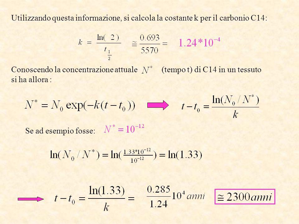 Utilizzando questa informazione, si calcola la costante k per il carbonio C14: Conoscendo la concentrazione attuale (tempo t) di C14 in un tessuto si