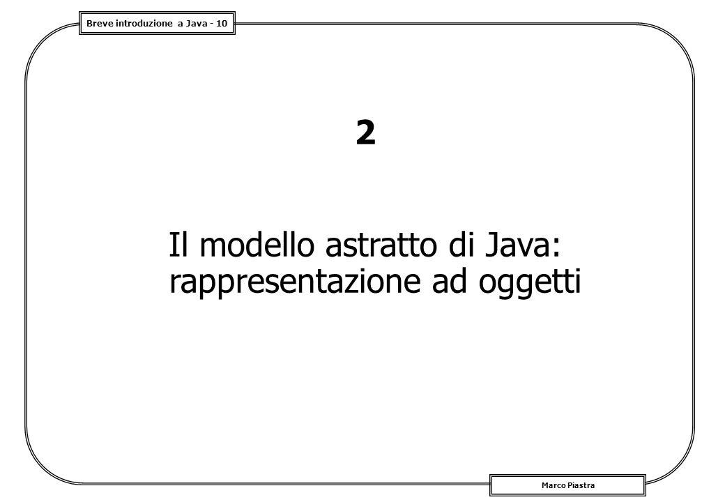 Breve introduzione a Java - 10 Marco Piastra 2 Il modello astratto di Java: rappresentazione ad oggetti
