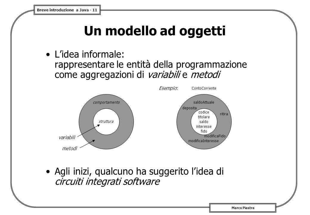 Breve introduzione a Java - 11 Marco Piastra Un modello ad oggetti L'idea informale: rappresentare le entità della programmazione come aggregazioni di