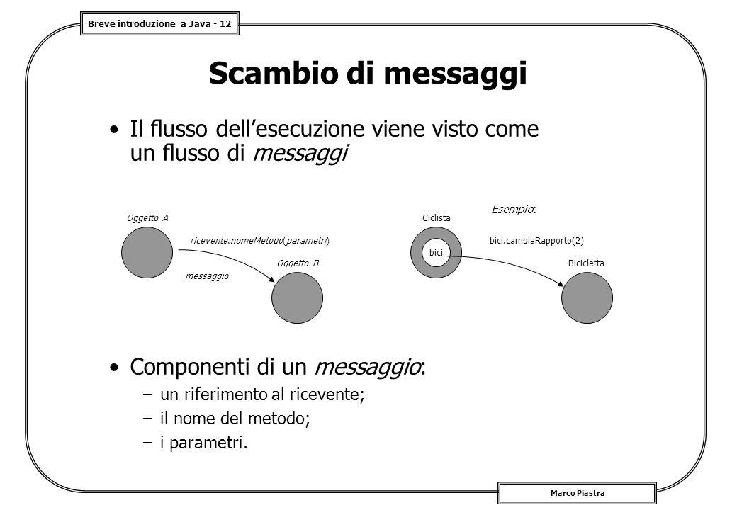 Breve introduzione a Java - 12 Marco Piastra Scambio di messaggi Il flusso dell'esecuzione viene visto come un flusso di messaggi Componenti di un messaggio: –un riferimento al ricevente; –il nome del metodo; –i parametri.