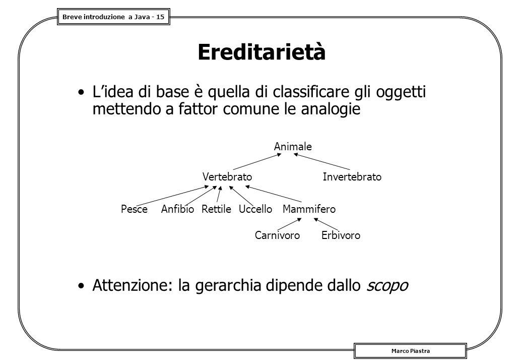 Breve introduzione a Java - 15 Marco Piastra Ereditarietà L'idea di base è quella di classificare gli oggetti mettendo a fattor comune le analogie Ani