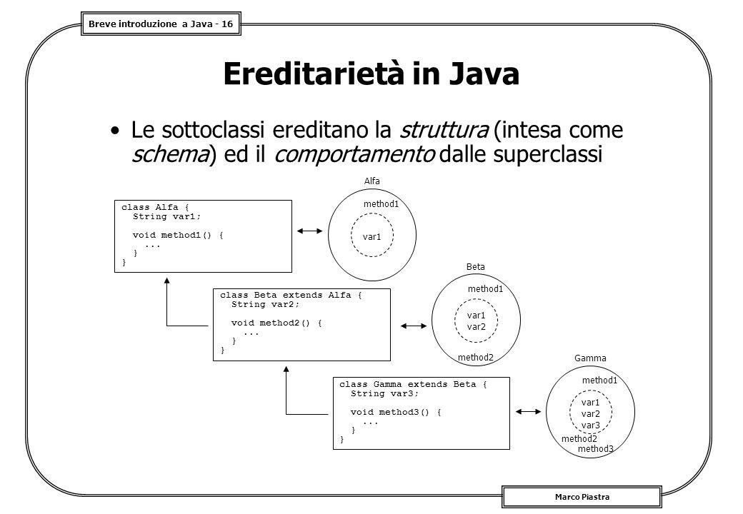 Breve introduzione a Java - 16 Marco Piastra Ereditarietà in Java Le sottoclassi ereditano la struttura (intesa come schema) ed il comportamento dalle superclassi class Alfa { String var1; void method1() {...