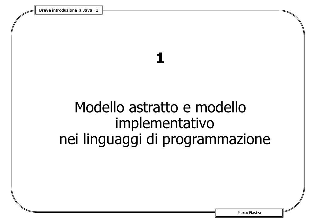 Breve introduzione a Java - 4 Marco Piastra Il progetto di un linguaggio Da tener presente: un 'linguaggio di programmazione' è progettato in riferimento ad modello implementativo specifico; il progetto del linguaggio include un rilevante aspetto teorico, cioè un modello astratto (e.g.