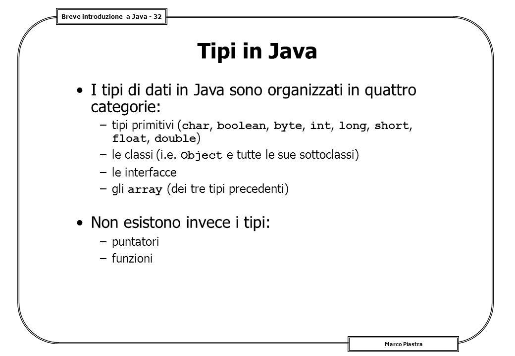 Breve introduzione a Java - 32 Marco Piastra Tipi in Java I tipi di dati in Java sono organizzati in quattro categorie: –tipi primitivi ( char, boolea