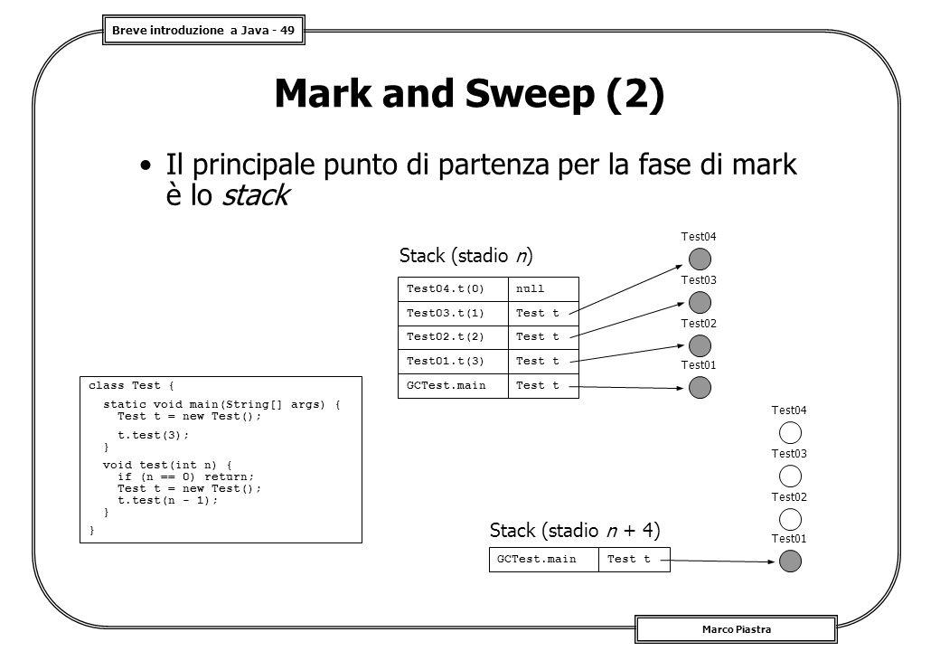 Breve introduzione a Java - 49 Marco Piastra Mark and Sweep (2) Il principale punto di partenza per la fase di mark è lo stack Stack (stadio n) class