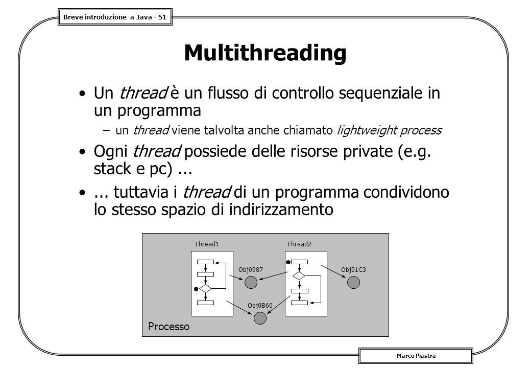 Breve introduzione a Java - 51 Marco Piastra Multithreading Un thread è un flusso di controllo sequenziale in un programma –un thread viene talvolta anche chiamato lightweight process Ogni thread possiede delle risorse private (e.g.