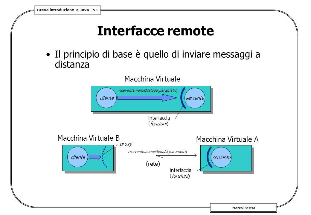 Breve introduzione a Java - 53 Marco Piastra Interfacce remote Il principio di base è quello di inviare messaggi a distanza Macchina Virtuale A servente interfaccia (funzioni) Macchina Virtuale B cliente (rete) proxy ricevente.nomeMetodo(parametri) Macchina Virtuale cliente ricevente.nomeMetodo(parametri) servente interfaccia (funzioni)