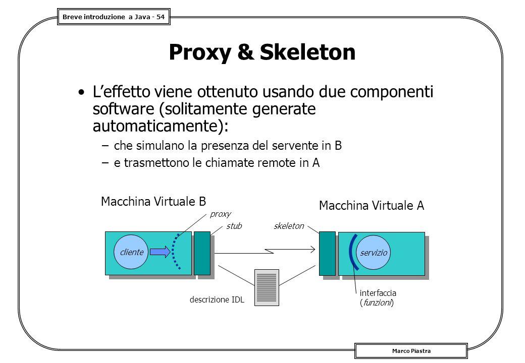 Breve introduzione a Java - 54 Marco Piastra Proxy & Skeleton L'effetto viene ottenuto usando due componenti software (solitamente generate automaticamente): –che simulano la presenza del servente in B –e trasmettono le chiamate remote in A servizio interfaccia (funzioni) cliente proxy stub skeleton descrizione IDL Macchina Virtuale B Macchina Virtuale A