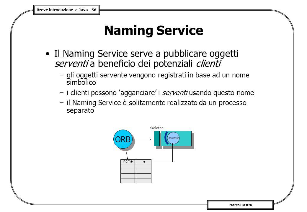 Breve introduzione a Java - 56 Marco Piastra skeleton ORB servente nome Naming Service Il Naming Service serve a pubblicare oggetti serventi a benefic