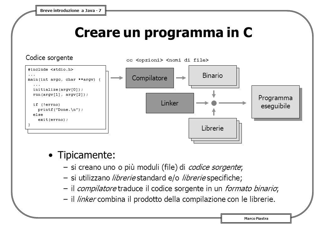 Breve introduzione a Java - 7 Marco Piastra Creare un programma in C Tipicamente: –si creano uno o più moduli (file) di codice sorgente; –si utilizzano librerie standard e/o librerie specifiche; –il compilatore traduce il codice sorgente in un formato binario; –il linker combina il prodotto della compilazione con le librerie.