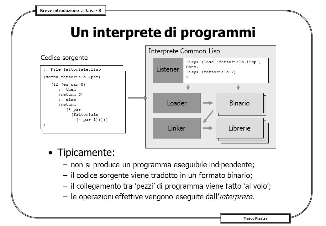 Breve introduzione a Java - 8 Marco Piastra Un interprete di programmi Tipicamente: –non si produce un programma eseguibile indipendente; –il codice s