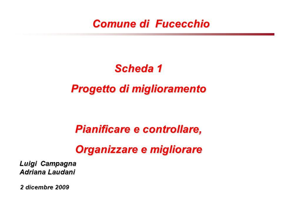 Scheda 1 Progetto di miglioramento Pianificare e controllare, Organizzare e migliorare Luigi Campagna Adriana Laudani 2 dicembre 2009 Comune di Fucecchio