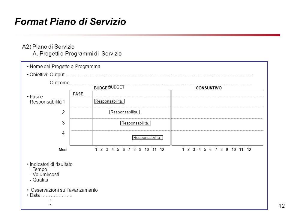 12 Format Piano di Servizio Nome del Progetto o Programma Obiettivi: Output.............................................................................................................................................