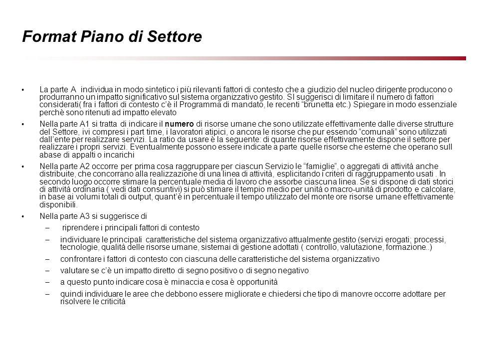 10 Format Piano di Settore ( rappresentazione sintetica ) B) Piano di Settore come Sintesi dei Piani di Servizio Piano di Servizio 3 Piano di Servizio 2 Piano di Servizio 1 1.Progetti Comuni Interfunzionali 2.Piano di Unità 1,2,3 A.