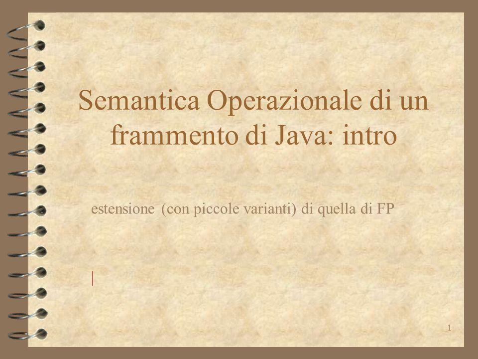 2 Semantica operazionale 4 modello di esecuzione –importanti soprattutto le strutture che compongono lo stato 4 simile alle strutture a run-time della JVM, che esegue il byte-code prodotto dal compilatore