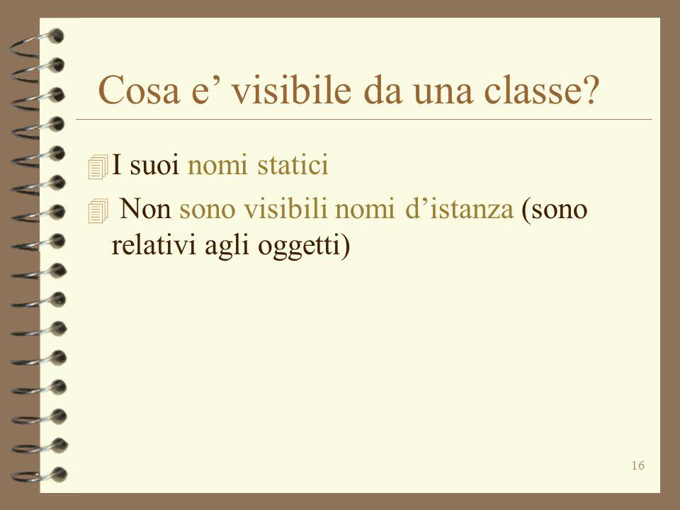16 Cosa e' visibile da una classe.