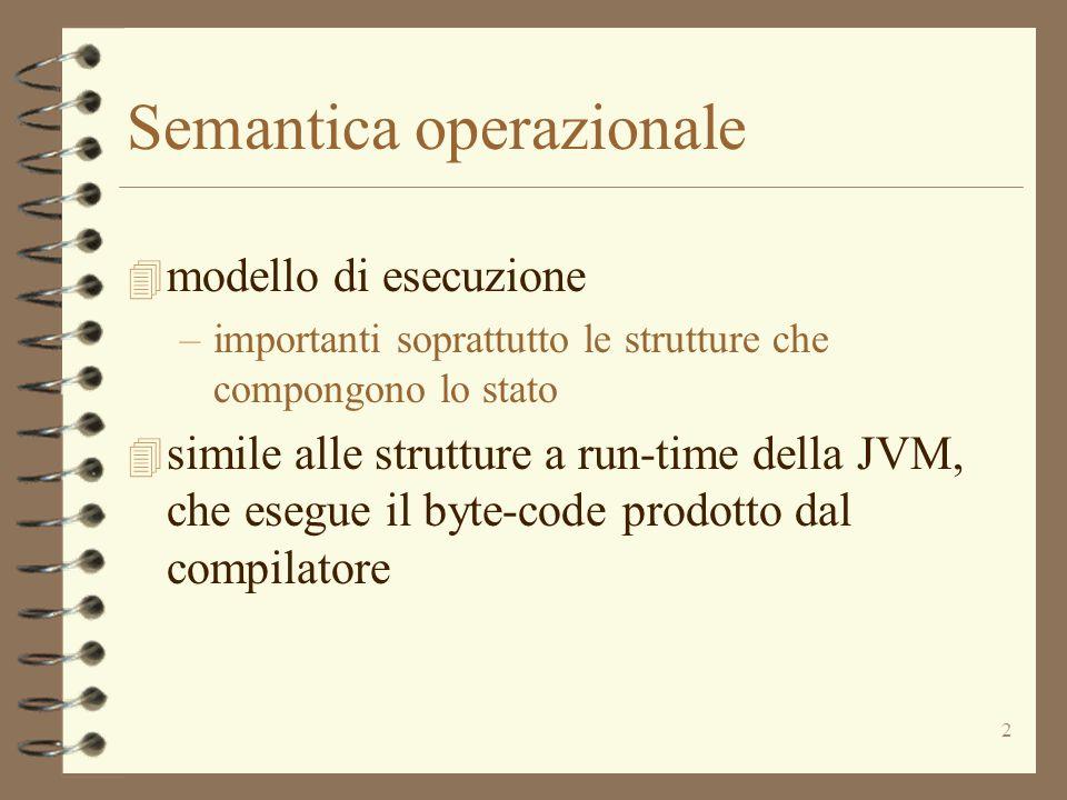 3 Semantica operazionale 4 piu' orientata all'implementazione –Per esempio le strutture dati che si usano per descrivere lo stato e le transizioni