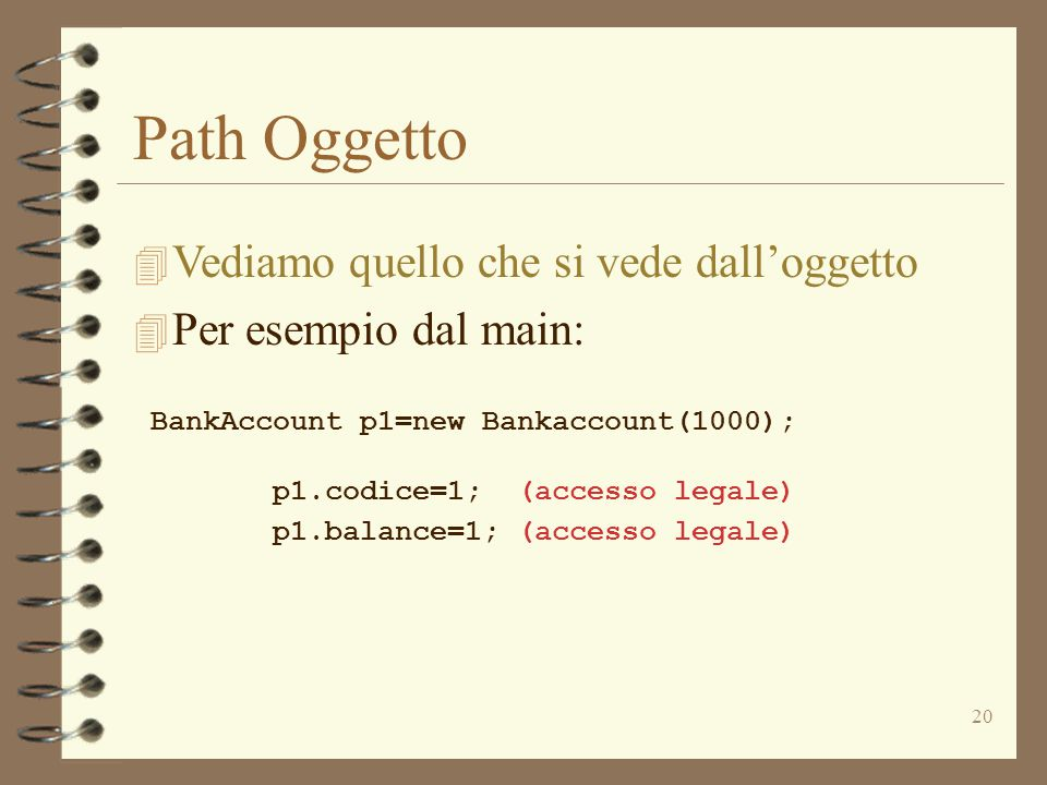 20 Path Oggetto 4 Vediamo quello che si vede dall'oggetto 4 Per esempio dal main: BankAccount p1=new Bankaccount(1000); p1.codice=1; (accesso legale) p1.balance=1; (accesso legale)