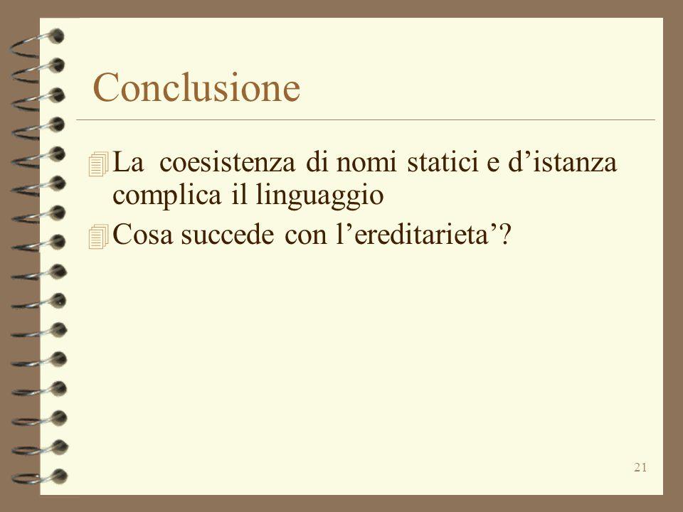 21 Conclusione 4 La coesistenza di nomi statici e d'istanza complica il linguaggio 4 Cosa succede con l'ereditarieta'