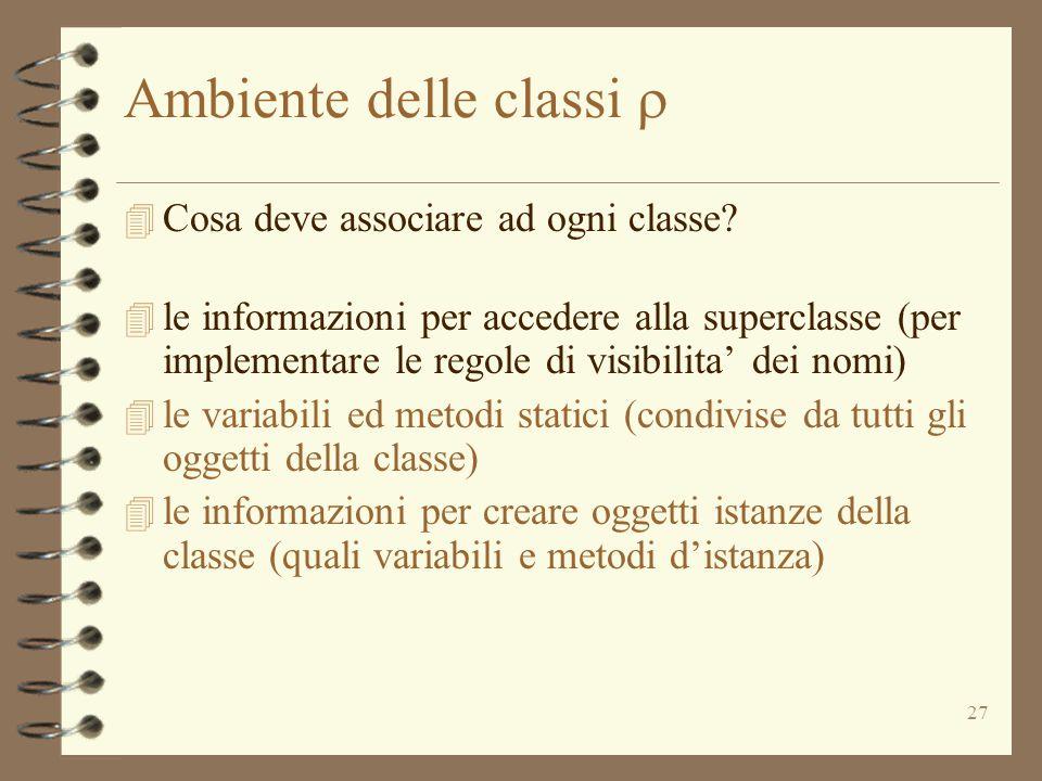27 Ambiente delle classi  4 Cosa deve associare ad ogni classe.