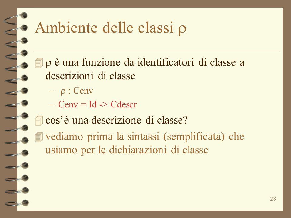 28 Ambiente delle classi    è una funzione da identificatori di classe a descrizioni di classe –  : Cenv –Cenv = Id -> Cdescr 4 cos'è una descrizione di classe.
