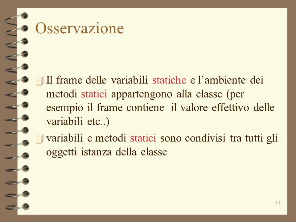 31 Osservazione 4 Il frame delle variabili statiche e l'ambiente dei metodi statici appartengono alla classe (per esempio il frame contiene il valore effettivo delle variabili etc..) 4 variabili e metodi statici sono condivisi tra tutti gli oggetti istanza della classe