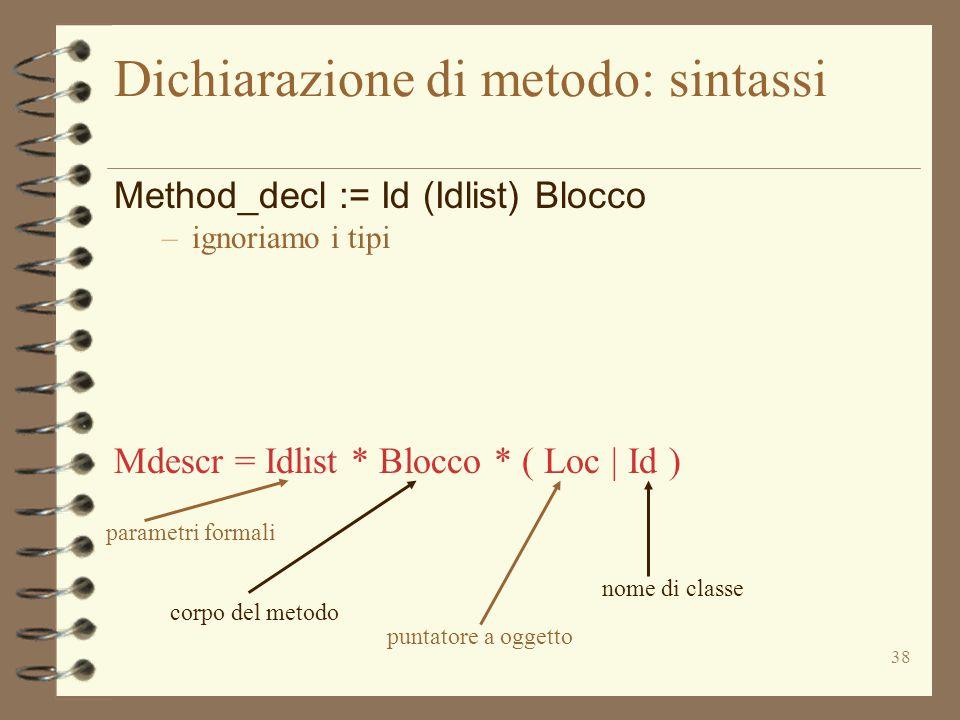 38 Dichiarazione di metodo: sintassi Method_decl := Id (Idlist) Blocco –ignoriamo i tipi Mdescr = Idlist * Blocco * ( Loc | Id ) parametri formali corpo del metodo puntatore a oggetto nome di classe