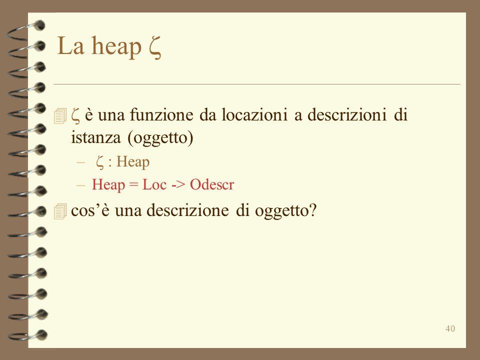 40 La heap    è una funzione da locazioni a descrizioni di istanza (oggetto) –  : Heap –Heap = Loc -> Odescr 4 cos'è una descrizione di oggetto