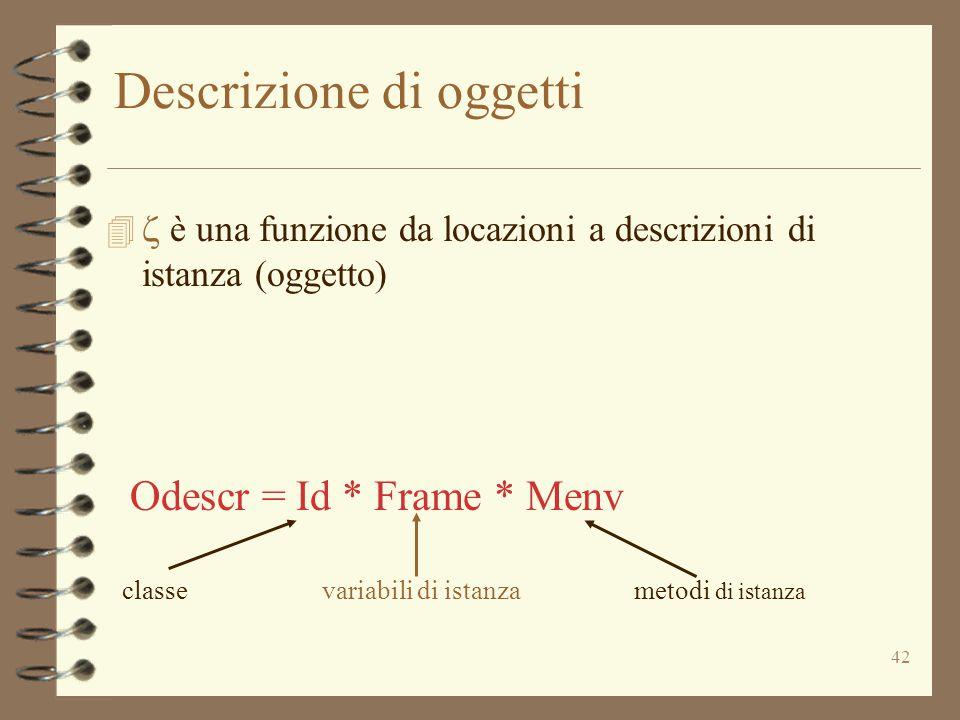 42 Descrizione di oggetti   è una funzione da locazioni a descrizioni di istanza (oggetto) Odescr = Id * Frame * Menv classevariabili di istanzametodi di istanza